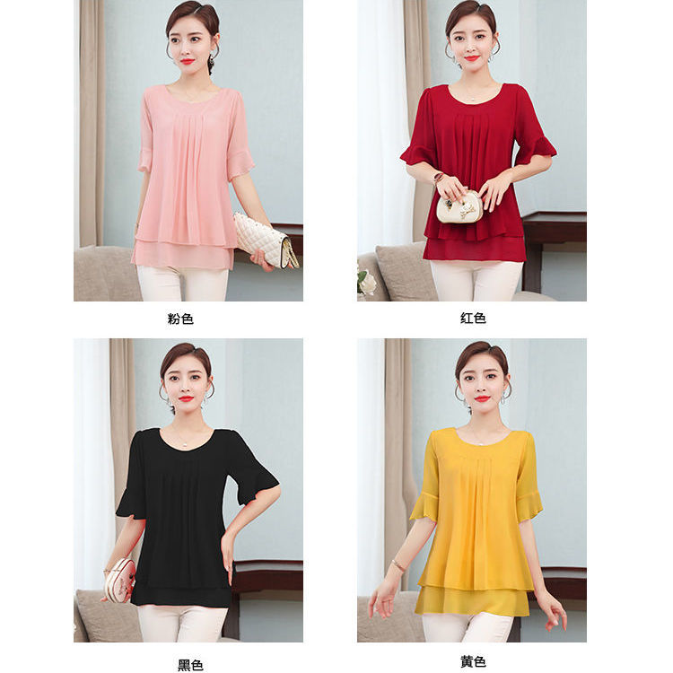 2021 Summer obesity Mid-length Chiffon Blouse Plus Size 5XL Women Short sleeve Beautiful Self-cultivati Shirt blouse Show thin 6