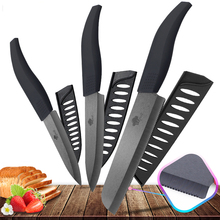 цена на Ceramic Knife 4 5 6 inch Zirconia Black Blade Bread Serrated Knife Slicing Kitchen Knives Tools Colorful Handle Set of 3
