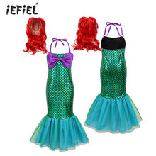 Kids Girls Adjustable Halter Neck Glossy Fish Scales Mermaid Dress Costume Halloween Theme Party Cosplay Dress Up with Hair Wigs(China)