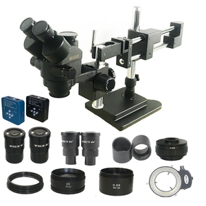 Image 1 - 3.5X 180X Double Boom Simul Focal trinocular stereo Microscope 34MP HDMI USB digital camera Industrial PCB Jewelry repair tool