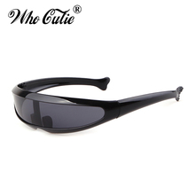 WHO CUTIE 2019 Windproof Visor Sunglasses Men Women One Piece Sunny Flat Top Gog