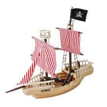 Большой деревянный пиратский корабль игрушка для детей разноцветное