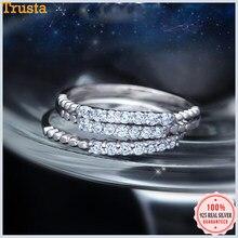 Trustdavis de 100% Plata de Ley 925 dulce deslumbrante de dedo CZ anillo tamaño 5 5 5 6 6 7 8 9 para las mujeres Gilr joyería de plata 925 DT34