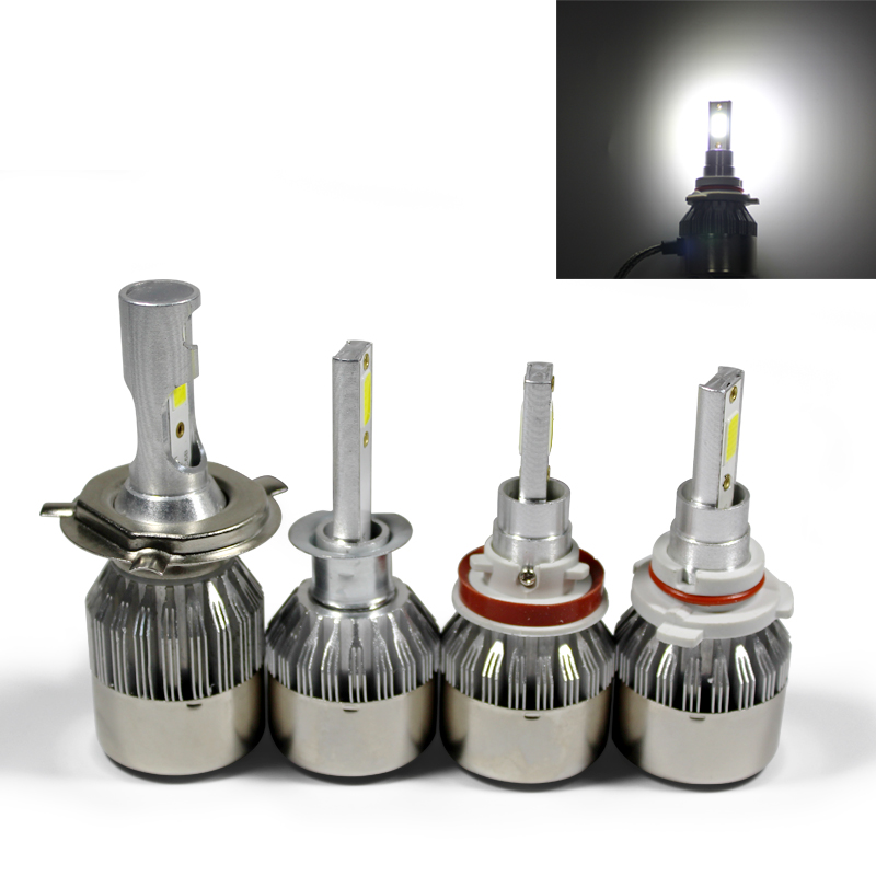 1 個 LED 車のヘッドライト電球 H 1 3 4 7 9 11 9005 9006 COB 6000 18K 防水 36 ワット 12V 24 12v 車スタイリングランプ