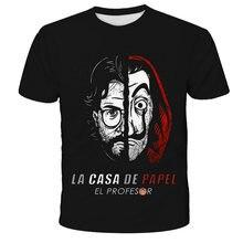 NewSummer Money Heist T-Shirt The House Of Paper La Casa De Papel T Shirt Vogue Dali Mask Casa De Papel Casual T-Shirt Men Top