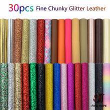30 pçs pacote fino chunky glitter sintético vinil plutônio couro sintético tecido brilho diy broche arcos feito à mão brinco que faz 20*15cm
