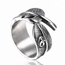 Punk Finger Ring Mens Fashion Stainless Steel Jewelry Male Silver Personality Vintage Accesories opening leaf Feather