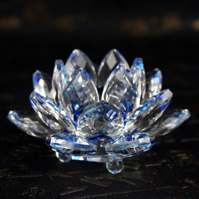 Fengshui K9 Crystal Lotus Flower Paperweight for Wedding Favor Home Decoration Holiday Gifts 3