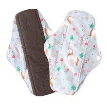 Ohbabyka Women Panty Liner Cloth Menstrual Pad Bamboo Charcoal Mama Cloth Menstrual Sanitary Reusable Washable Day Pad SizeS M L