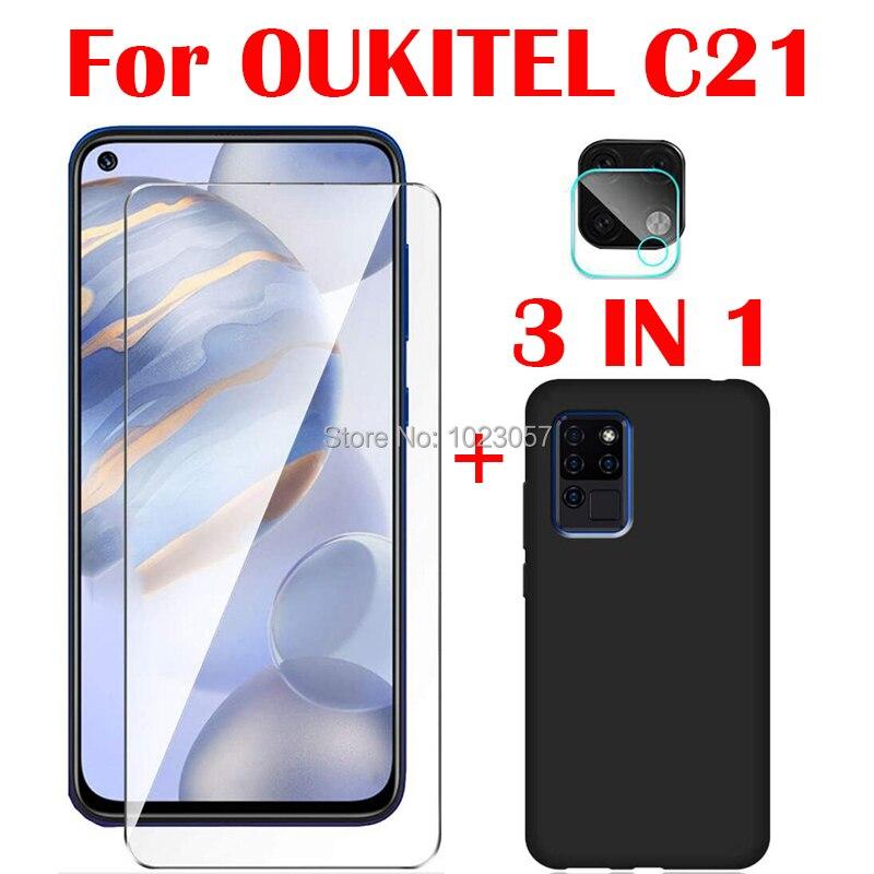 Мягкий чехол 3 в 1 + закаленное стекло для камеры для OUKITEL C21 6,4 Защитное стекло для экрана для OUKITEL C21 2.5D стекло