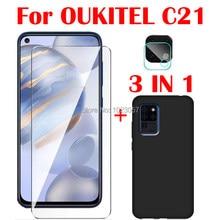 3-em-1 caso macio + câmera de vidro temperado para oukitel c21 6.4 screenprotector de vidro para oukitel c21 2.5d vidro