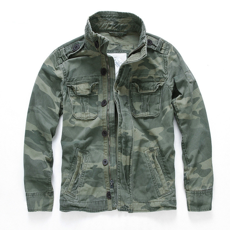 Men Camouflage Combat Jackets Retro Military Pocket Men's Denim Macket Outwear Army Coats Casual Male Cotton Size S-2XL 2020 New