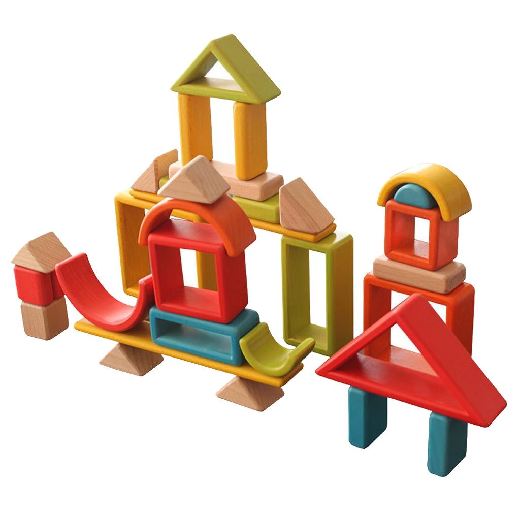 32 pièces enfants en bois arc en ciel blocs empilables jouets éducatifs Montessori - 6