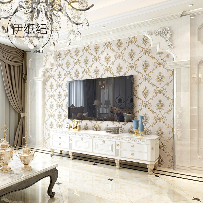 European Style Luxury Damascus Non-woven Wallpaper 3D Relief American Vintage Bedroom Background Of Television In The Drawing Ro