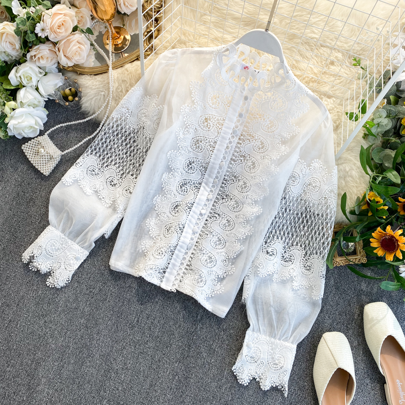 White Black Long Lantern Sleeve Lace Hollow Out Stand Collar Blouse Shirt 2