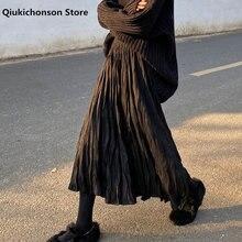 Jupe longue plissée noire pour femmes, Style coréen, taille haute, ligne a, Midi, automne et hiver, 2020
