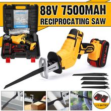 Reciprocating Saw Woodworking-Tool-Kit Electric-Saw Li-Ion-Battery Cordless 4-Blades