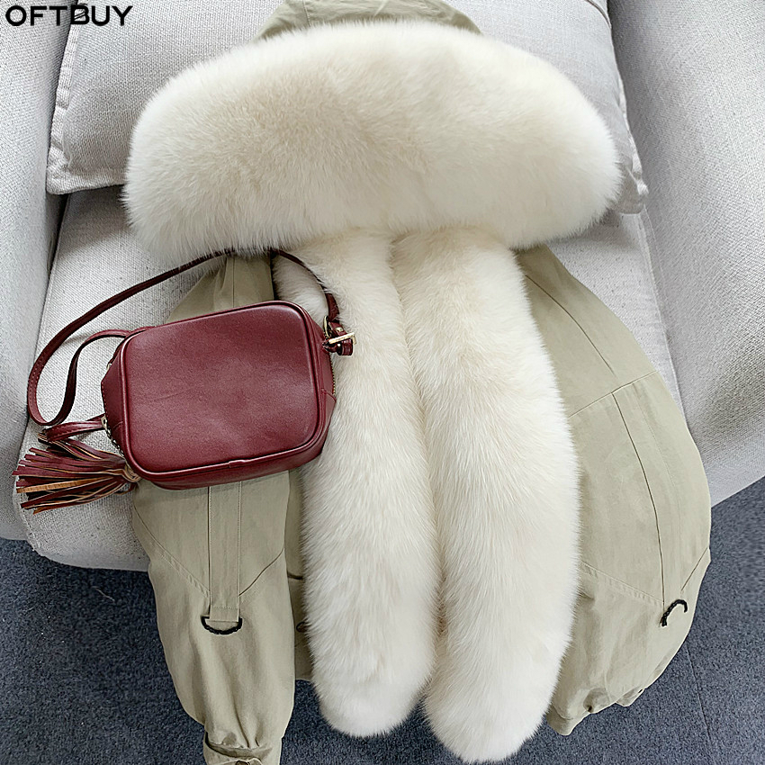 OFTBUY 2019 Real Fur Parka Winter Jacket Women Natural Fox Raccoon Fur Coat Rabbit Lining Thick Warm Outerwear Streetwear Luxury