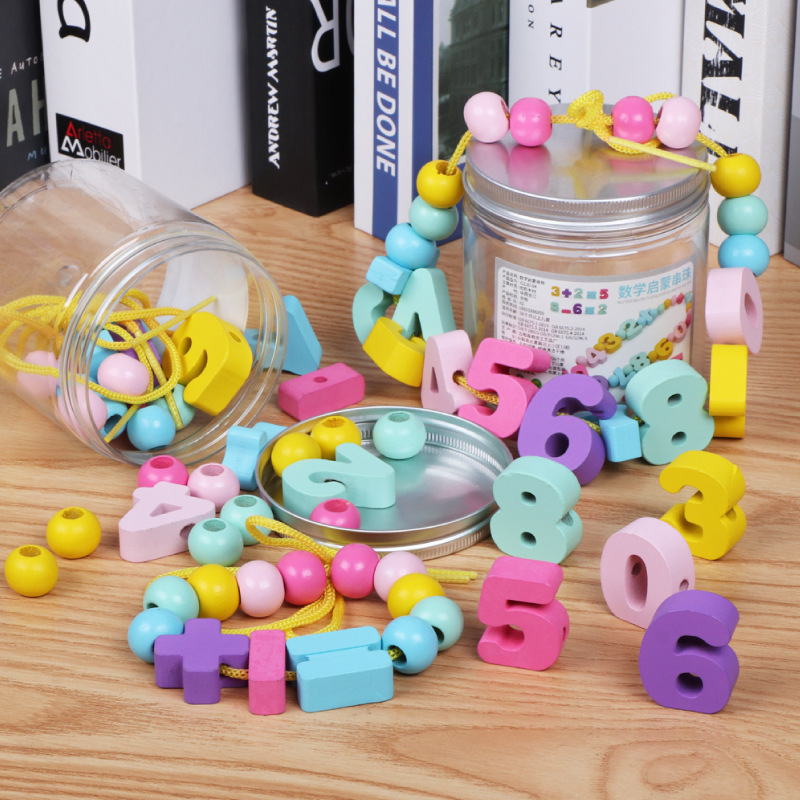 Canned Color With Numbers Beaded Bracelet Ls02/0.13 Children With Numbers Computing CHILDREN'S Early Education Wear Beads Educat