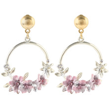 Trendy Cute Pink Flower Earrings For Women Girls Jewelry Female Rhinestone Gold Metal Round Circle Hoop Earrings Gifts Brincos(China)