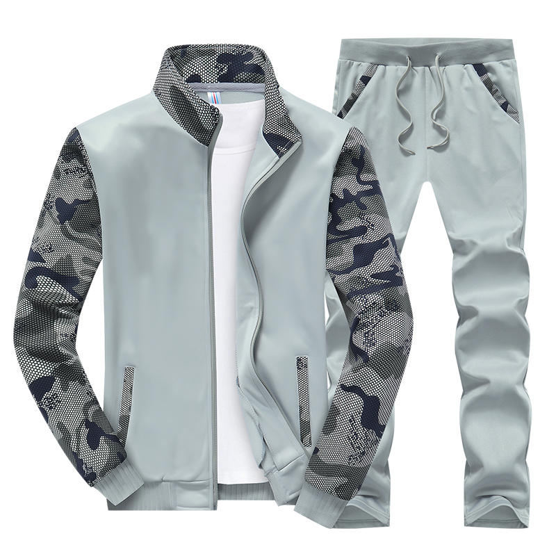 Tracksuit Set Men Clothes Fashion Fat Plus Sizem M-4XL Sportwear Men Hoodie Jacket Pants 2 Piece Sets Patchwork Sweat Suit