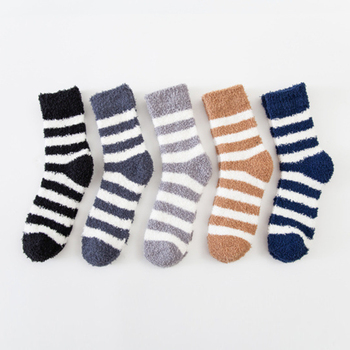 Anklet Thicken Socks Breathable Soild Coral Cotton Striped Tube Warm Sleep Comfortable Winter Men Soft