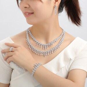 Image 4 - תכשיטי סט HADIYANA Tempartment נשים חתונת יש עוסק שרשרת עגילי טבעת וצמיד סט זירקון CNY0083 Bisuteria