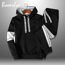 Plus size casual agasalho masculino 2020 dos homens do esporte masculino conjunto de hoodie moda carta imprimir suor terno dois conjuntos de peças