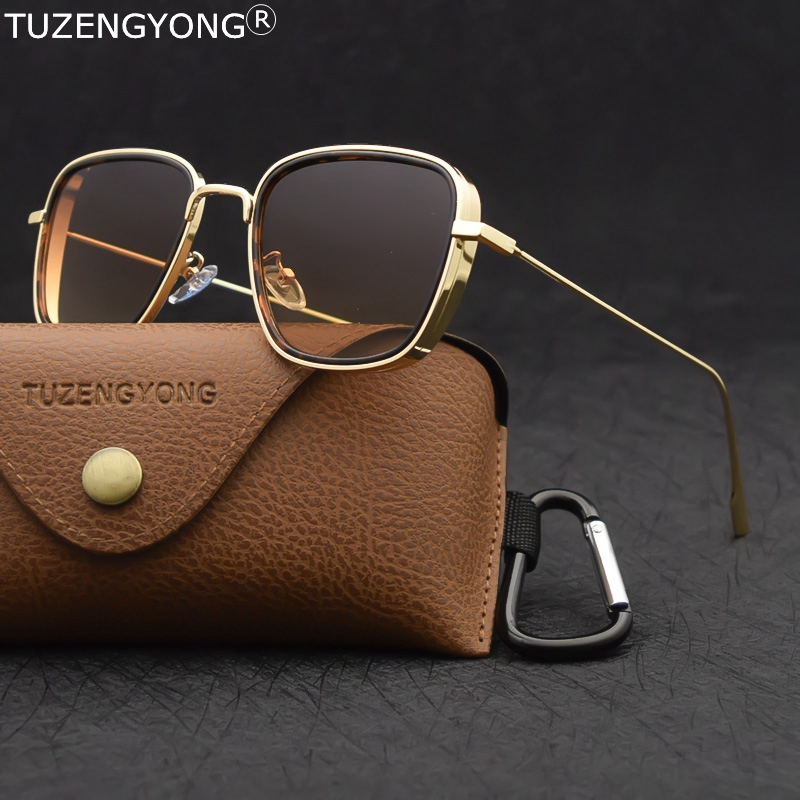 TUZENGYONG 2020 New Steampunk Sunglasses Fashion Men Women Brand Designer Vintage Square Metal Frame Sun Glasses UV400 Eyewear