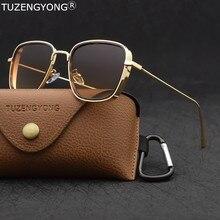 Tuzengyong 2020 nova steampunk óculos de sol moda masculina marca designer vintage quadrado metal quadro uv400 óculos de sol