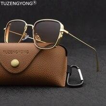 TUZENGYONG 2020 new Steampunk Sunglasses Fashion Men Women Brand Designer Vintage Square Metal Frame Sun Glasses UV400 Eyewear