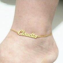 Nazwa własna Anklet spersonalizowana biżuteria dostosowana stal nierdzewna Enkelbandje różowe złoto kolor tabliczka znamionowa bransoletka na kostkę Cheville