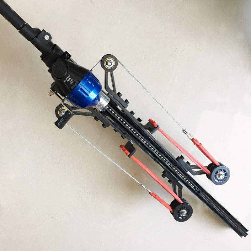 Semi Automatico Slingshot Catapulta di Caccia Pesca Arco Balestra Bobina Multifunzione Steel Ball Ammo Freccia di Scatto Continuo