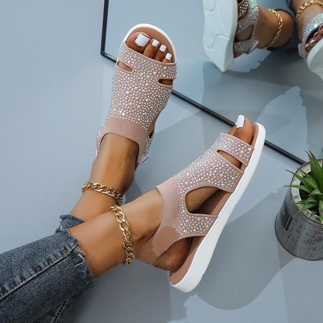 Женские босоножки с кристаллами, повседневные сандалии на плоской подошве с ремешком и пряжкой 6