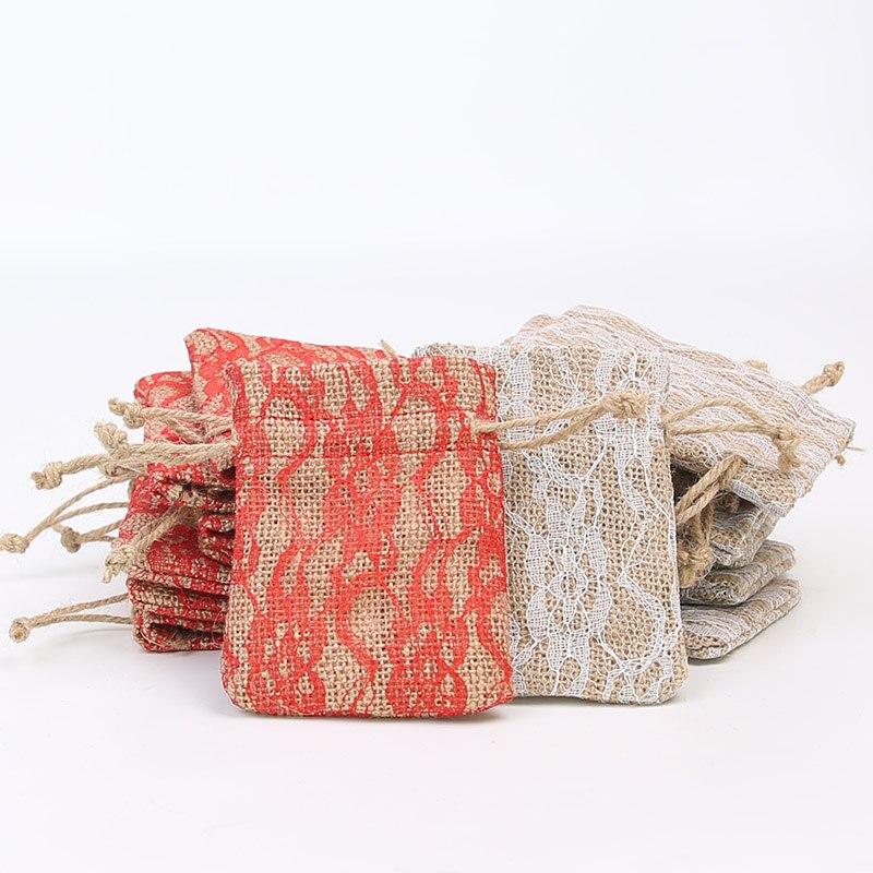 50pcs Natural Hemp Cotton Bag 9 * 12Cm Lace Jewelry Packaging Drawstring Gift Bundle Pocket