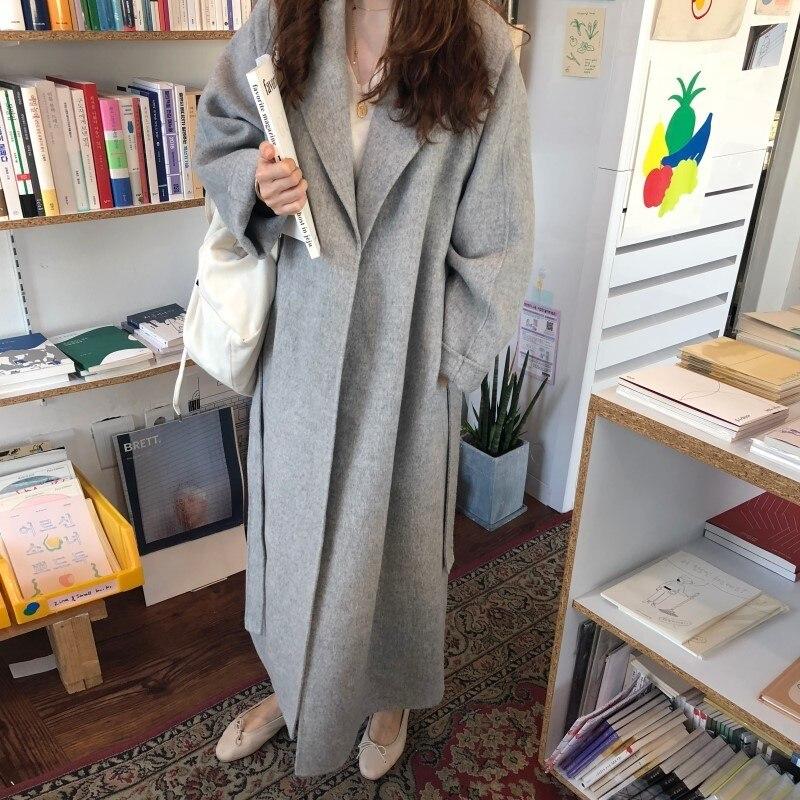 19 Winter Oversize Long Trench Coat Women Cashmere Coat Korean Lady Windbreaker Outwear Streetwear 46