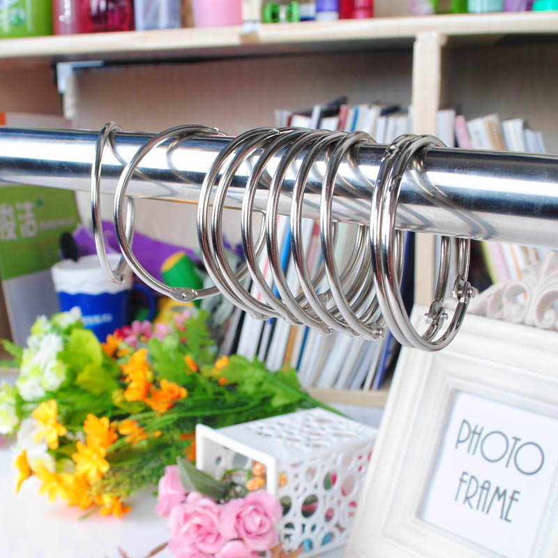 Anti Rust Shower Curtains Glide Rings Round Stainless Steel Rod Clips 10Pcs Bathroom Accessories Curtain Hooks Bath Rollerball