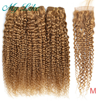 My Like Brazilian Hair Weave Kinky Curly Bundles with Closure #27 Honey Blonde Non-remy 3Pcs Human Hair Bundles with Closure