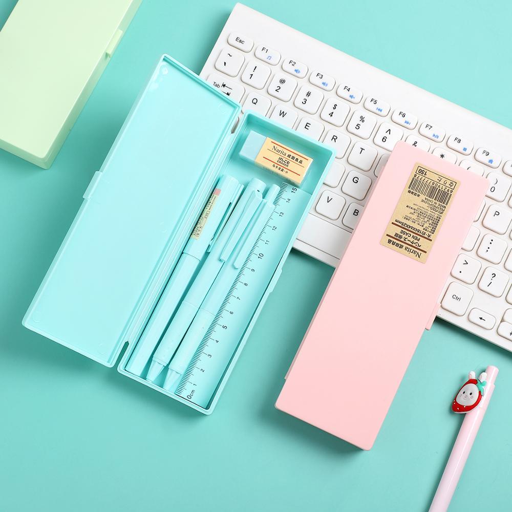 JIANWU 1set Macaron Stationery Box With Pen Ruler Eraser Multifunction Large Capacity Pencil Box Gel Pen 6 In 1 School Supplies