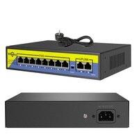 48V interruptor de POE 8 puertos 2 Enlace 10/100Mbps IEEE 802,3 af/a para cámara IP Sistema de cámaras de seguridad CCTV Wireless AP