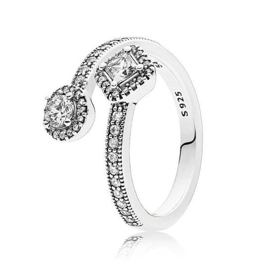 925 Серебряное кольцо Pave Цирконий кольцо с белой эмалью кольцо для женщин Свадебная вечеринка подарок ювелирные изделия