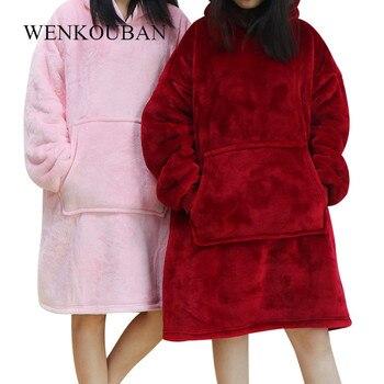 Winter Women Hoodie Sweatshirt Warm Pocket Blankets Outdoor Long Hoody For Women Coat Plush Oversized Sweatshirt Casaco Feminino men patchwork thermal furry hooded sweatshirt plush zip up winter warm coat for man casual solid male fuzzy hoody sweatshirt d20