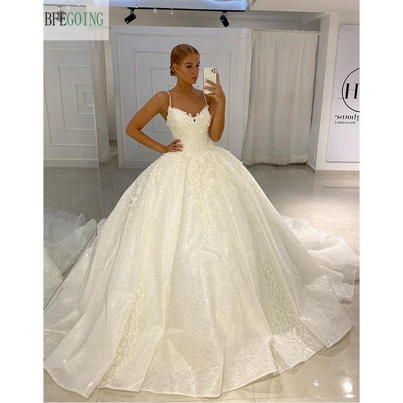 White Organza Lace V-neck Spaghetti Straps Floor-Length Ball Gown Wedding Dress Chapel Train Custom Made