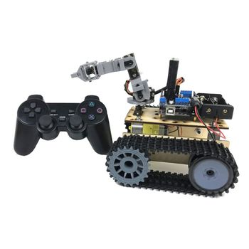 Vehicle Chassis Assembled DIY PS2 Remote Control Robot Four Degree of Freedom Track Detection Kit