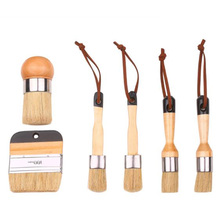 Chalk and Wax Brushes,Flat and Round Chalked Paint Brush with Bristles,Brushes for Chair,Dresser,Cabinets,Wood Furniture