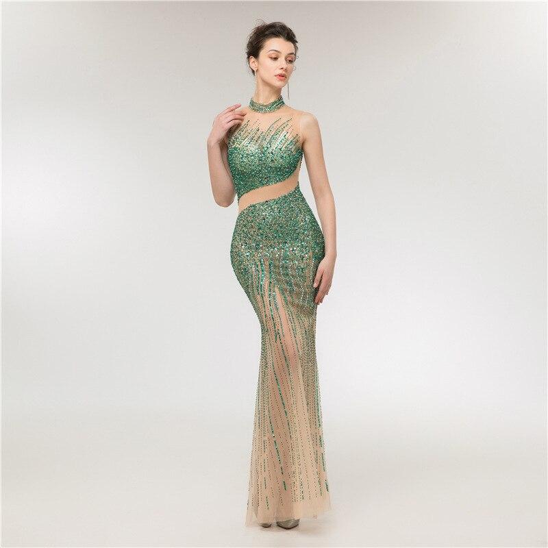 Luxe vert perlé robes de soirée longue grande taille robe de soirée sirène Tulle Photo réelle robe formelle femmes élégant 2019