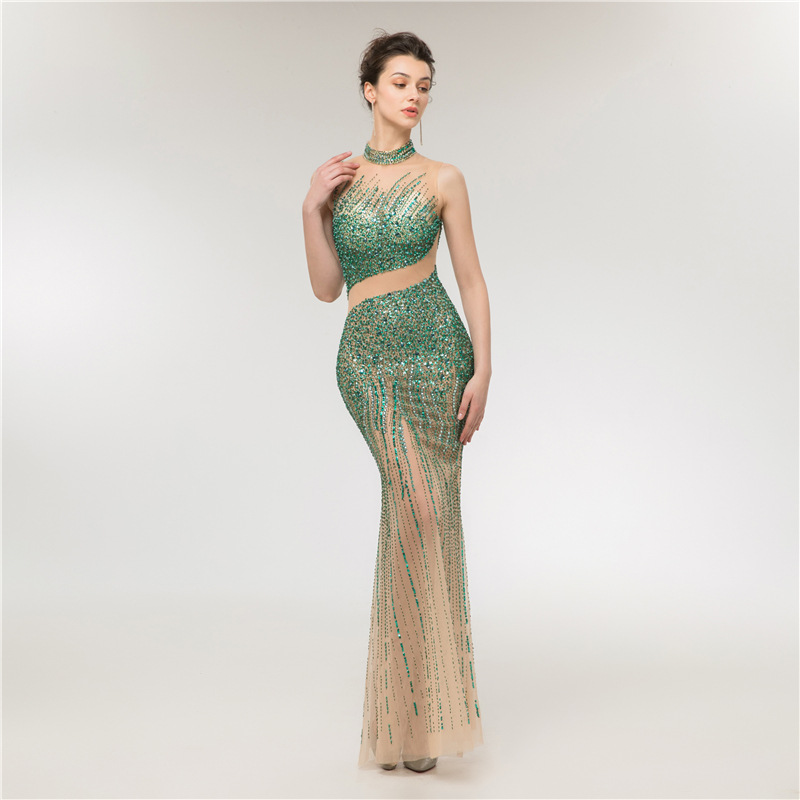 Luxury Green Beaded Evening Dresses Long Plus Size Evening Party Dress Mermaid Tulle Real Photo Formal Dress Women Elegant 2019