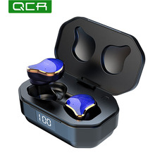 QCR G01 Cuffia Senza Fili 5.0 TWS Auricolare Bluetooth Vero Stereo Senza Fili Auricolari Sport Handsfree del Trasduttore Auricolare di Ricarica Con Il Mic
