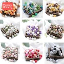 10Pc Baby Wooden Teethers Crochet Beads 20mm BPA Free Wood DIY Pacifier Chain Ne