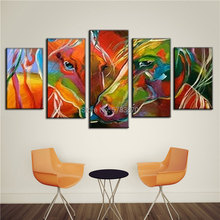 Hand painted modern Abstract Oil Painting RICH multi color fashion horse wall art picture colorful green orange zebra